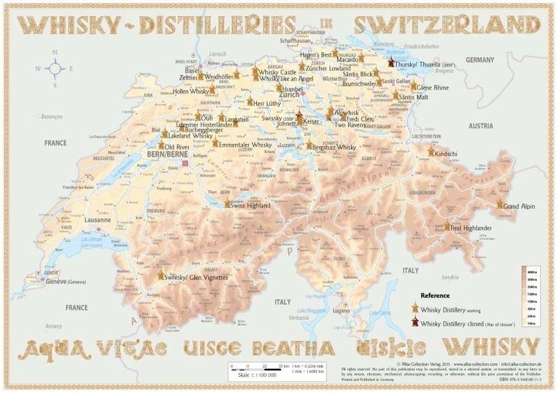 Schottland Karte Whisky.Poster